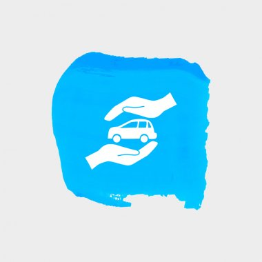 Car in hands icon