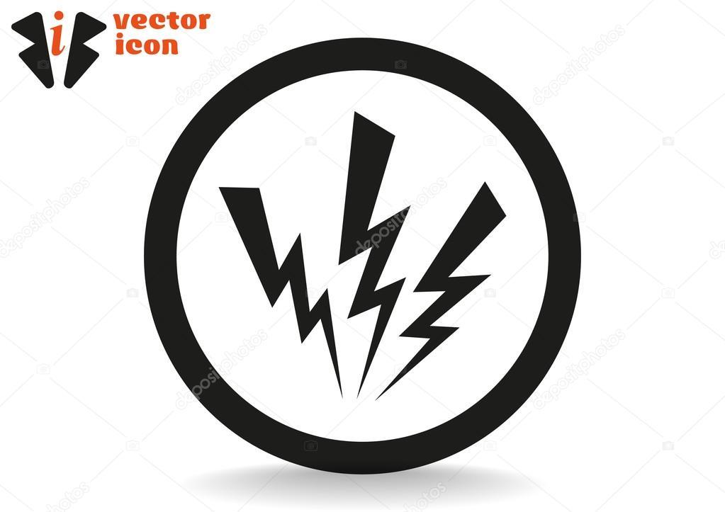 Symbol-Elektrizität in schwarzer Kreis — Stockvektor © LovArt #68003415