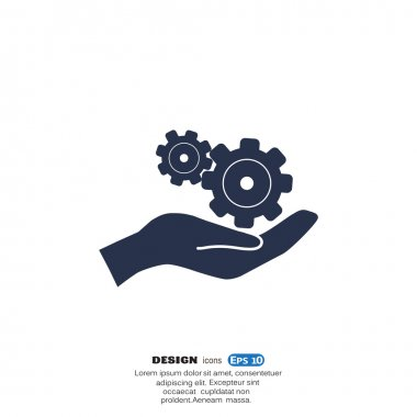 Rounded gears on hand simple icon