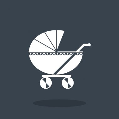 Vector illustration of baby carriage web icon clip art vector