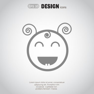 Happy little girl, web icon