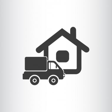 Truck near house web icon