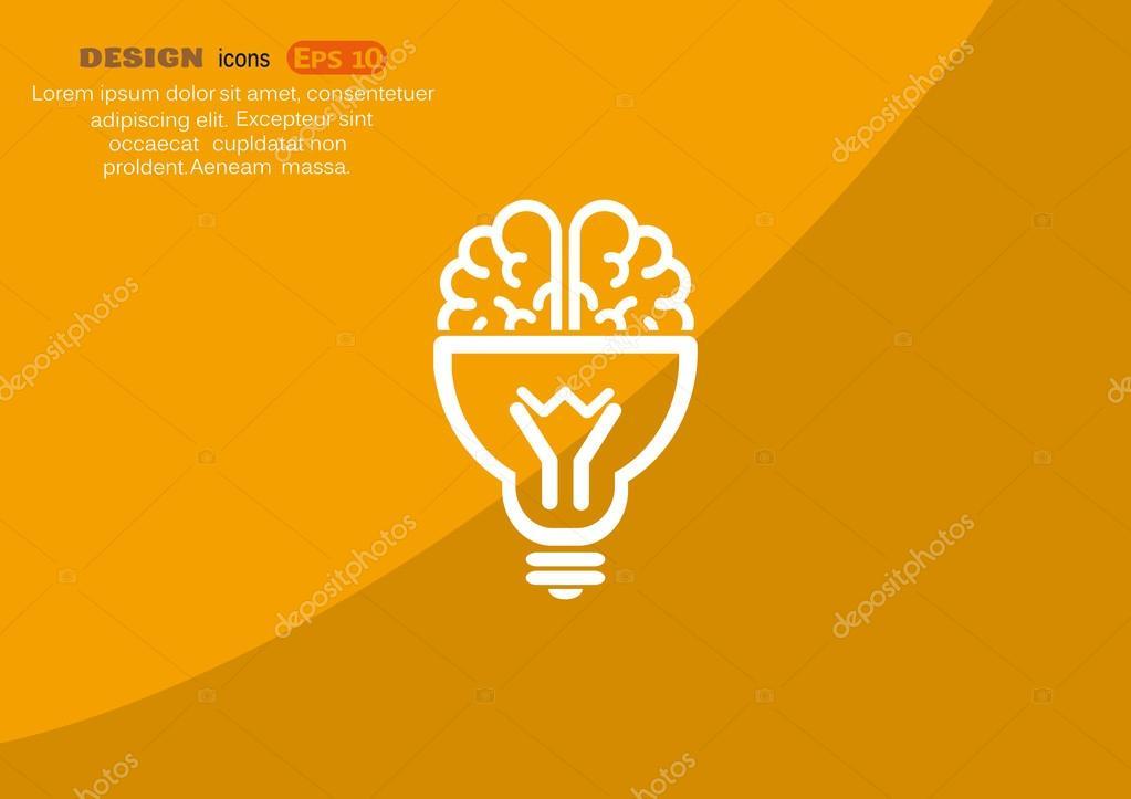 Gehirn mit Glühbirne-Symbol — Stockvektor © LovArt #75612059