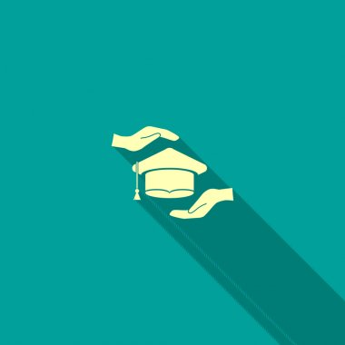 Academic hat and hands web icon