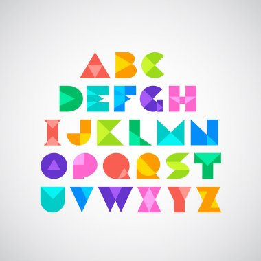 Spectral colorful letters in origami style