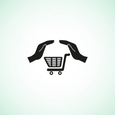 Shopping cart with hands web icon