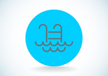 Pool ladder with waves icon