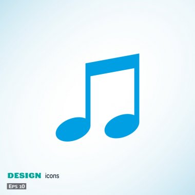 Music web icon with note