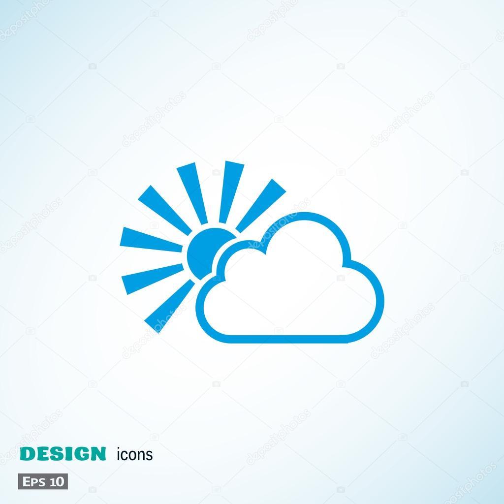 Sun with cloud simple icon