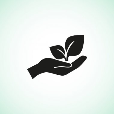 Leaves on human hand icon