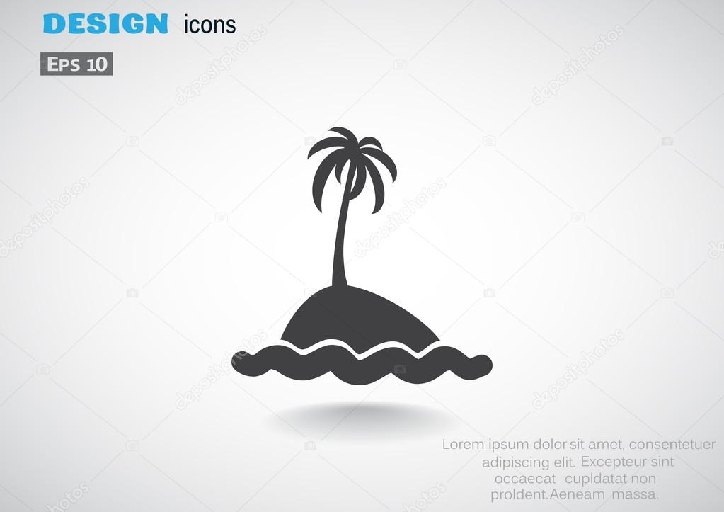 Exotic island with palm tree and waves