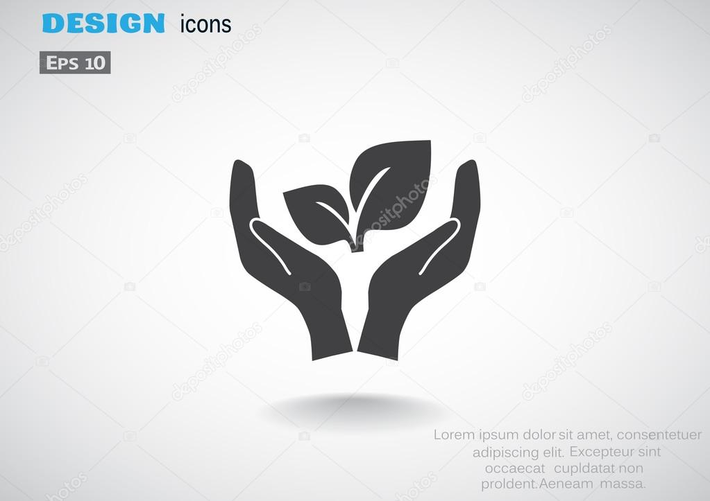 Leaves on human hands icon