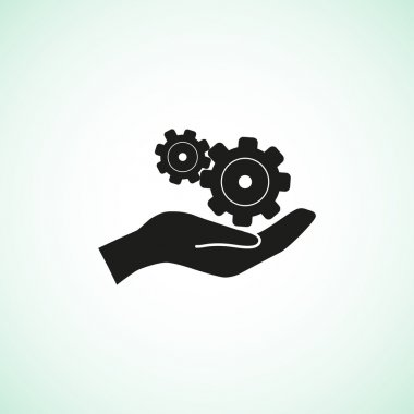 Rounded gears with hands simple icon