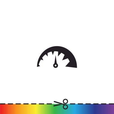 Simple speedometer web icon, outline vector illustration clip art vector