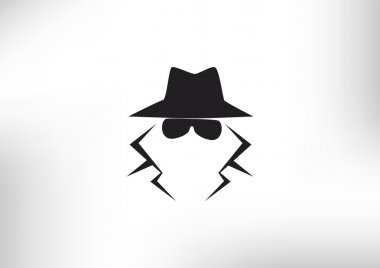 Anonymous spy agent silhouette icon