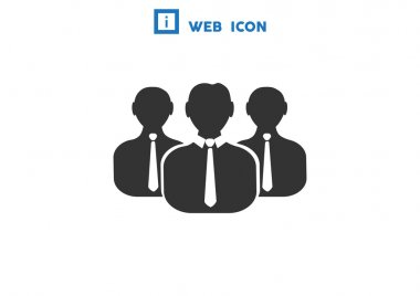 Group of people simple web icon, outline vector illustration clip art vector