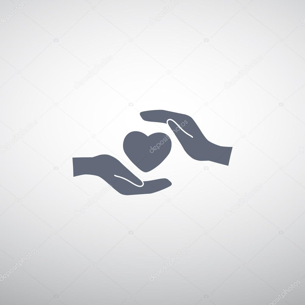 Heart in hands simple icon