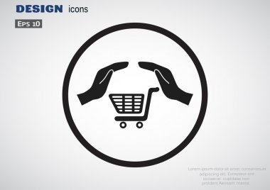 Shopping cart with hands icon