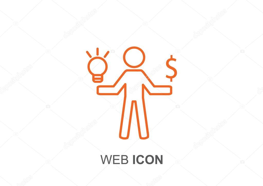 Mensch mit Licht und Dollar-Symbol — Stockvektor © LovArt #86156650