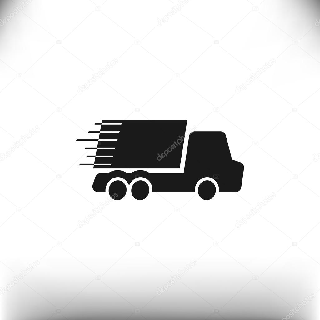 Simple truck on fast delivery concept, vector illustration