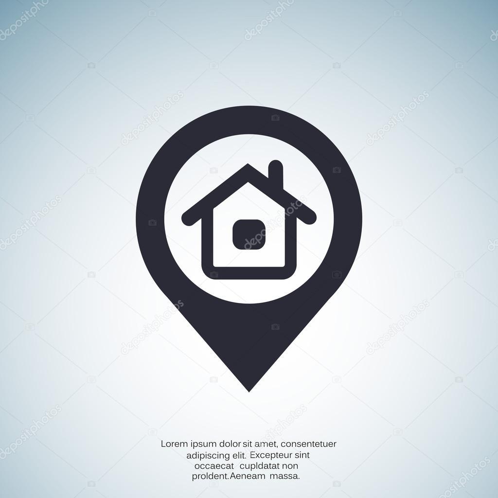 Icona semplice del puntatore di posizione casa for Semplice disegno del piano casa