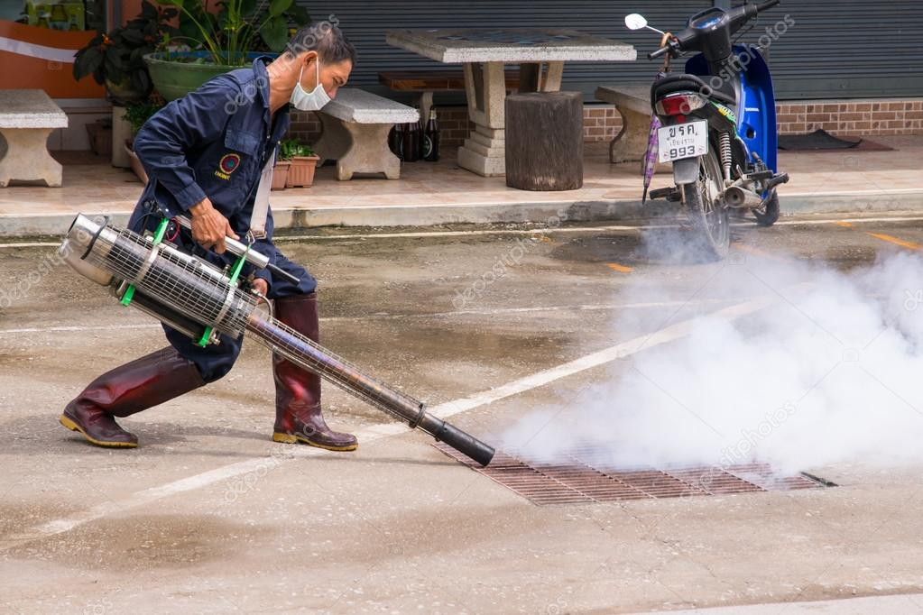 A man fogging mosquito to prevent of dengue fever