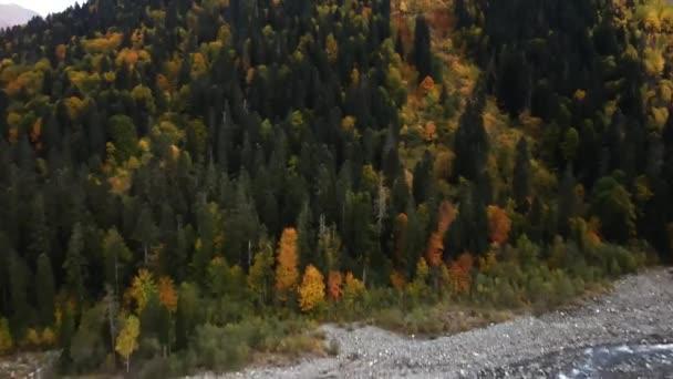 Ősszel repült végig a hegyen, színes erdőkkel borítva. Dombay, Oroszország. Drón