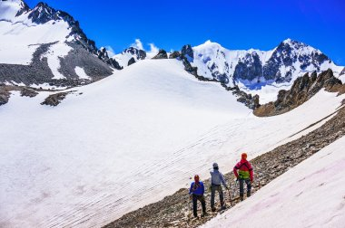 Group of climbers looking at snow-capped mountains and glacier