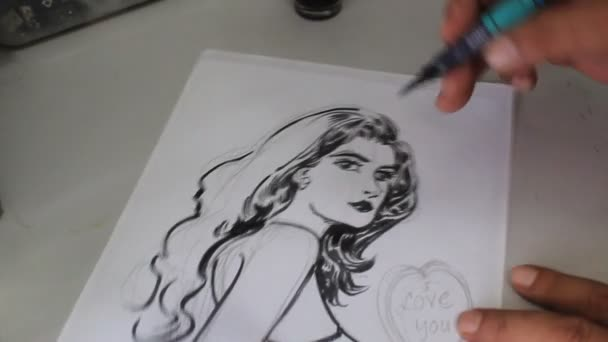 White Hand Drawing on comic drawing oh woman black in stunning shot