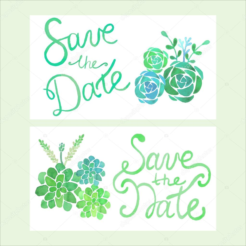 Calligraphy Vector Save The Date. Watercolor Invitation with succulents