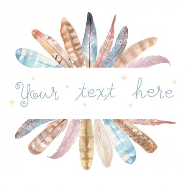 Watercolor feathers frame