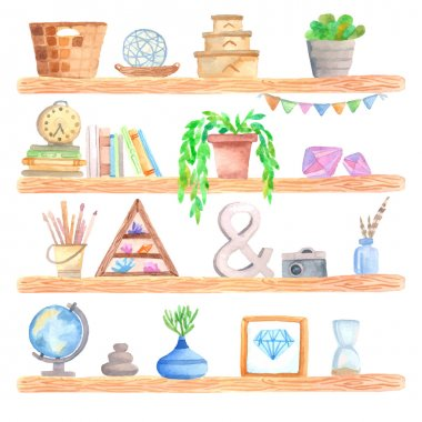 Watercolor shelf with objects