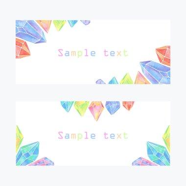 Watercolor crystals banner