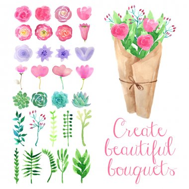Watercolor hand drawn isolated flowers for creating bouquets clip art vector