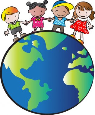 Kids standing on earth