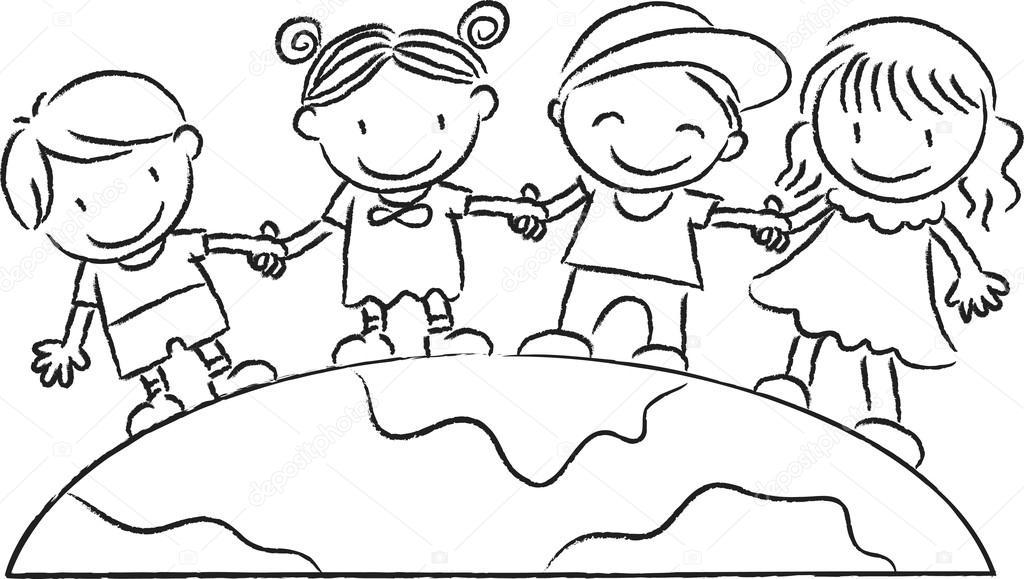 地球の上に立って子供たち ストック写真 wenpei 65778553