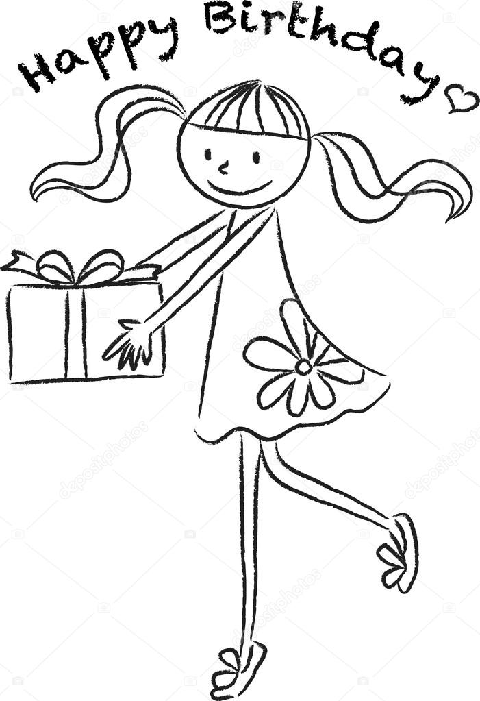 Cartoon Drawing Happy Birthday Card Stock Photo