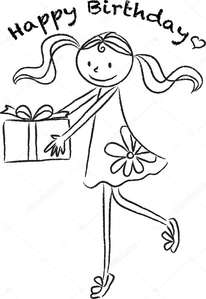 Cartoon Drawing Happy Birthday Card Stock Image