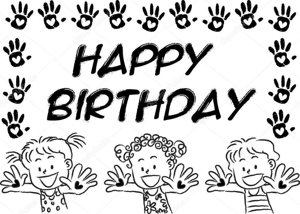 Cartoon Drawing Happy Birthday Card Stock Photo 169 Wenpei