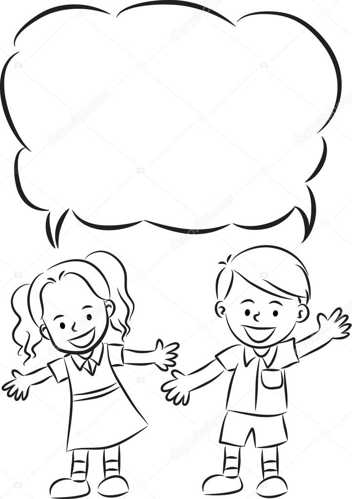 cartoon drawing happy kids with blank border photo by wenpei - Cartoon Sketches For Kids