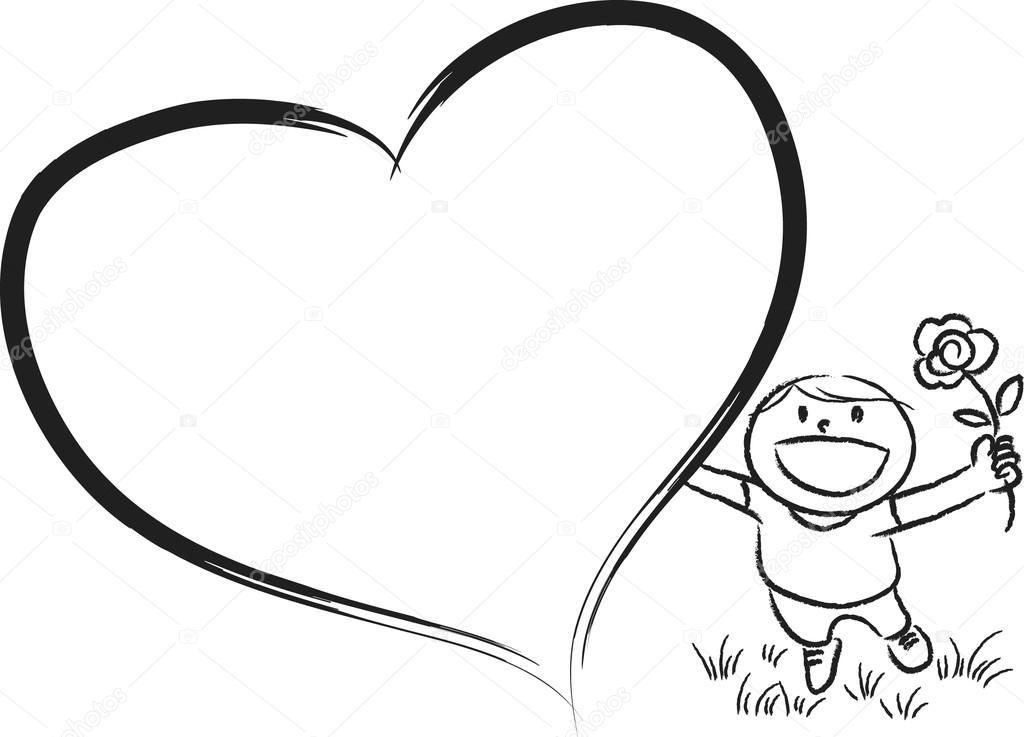 çocuk Büyük Boş Kalp şeklinde Stok Foto Wenpei 65883097