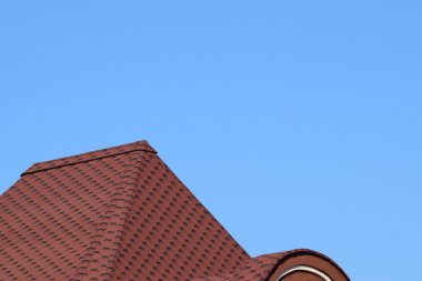 Decorative metal tile on a roof. Types of a roof of roofs