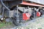 Fényképek Steam locomotive gördülő közelről