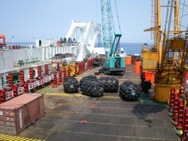 The cargo ship with the crane