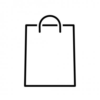 Shopping bag flat icon. Pictogram for web. Line stroke. Basket isolated on white background. Bag vector eps10 icon