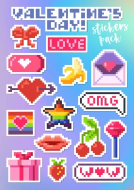 Set of stickers for Valentines Day. Packing pixel art stickers. Pop-art collection, vector. icon
