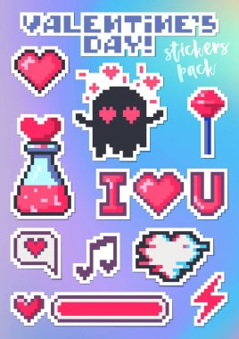 Set of stickers for Valentines Day. Packing pixel art stickers, hearts, I love you, ghost in love, potion. The pop art collection on colorful background. Vector illustration design. Cartoon style. icon