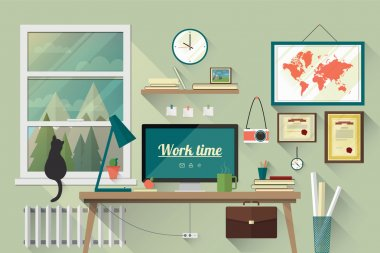 Flat design illustration of the modern workplace