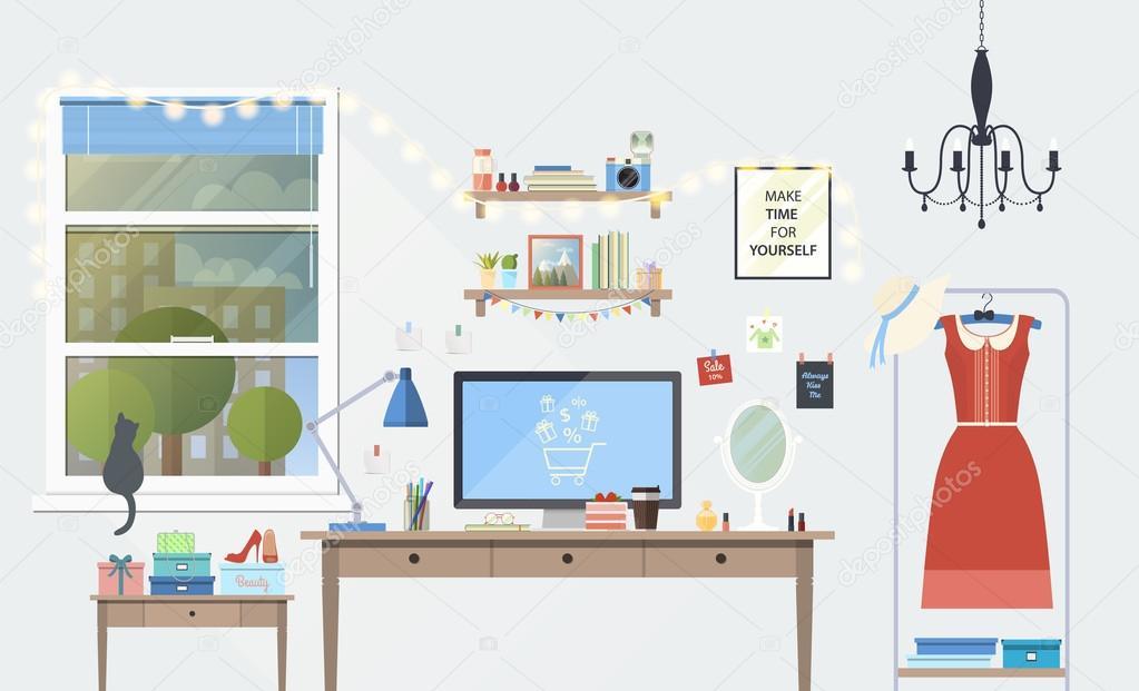 Kreativ Büro Arbeitsbereich Blogger Mit Elemente, Objekte. Gegenstände,  Ausrüstung. Flach, Minimalistischen Stil, Moderne Farben, Icons Sammlung U2014  Vektor ...