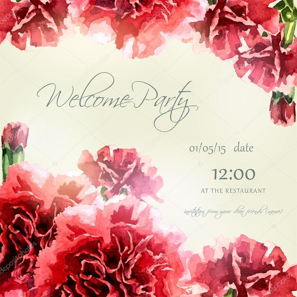 Invitation card with watercolor carnation frame